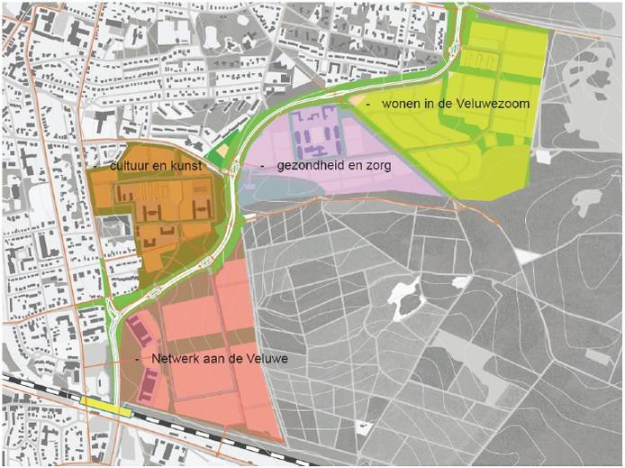De Parklaan ingetekend op een kaart van de toekomstige indeling van de kazerneterreinen in Ede-Oost.