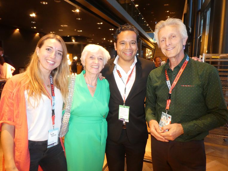 Duurzaamheidscommunicator Sandy Reitsma, oud-minister Jacqueline Cramer, Maurice Seleky (We Make the City) en Maurits Groen (Pakhuis de Zwijger). Beeld Schuim