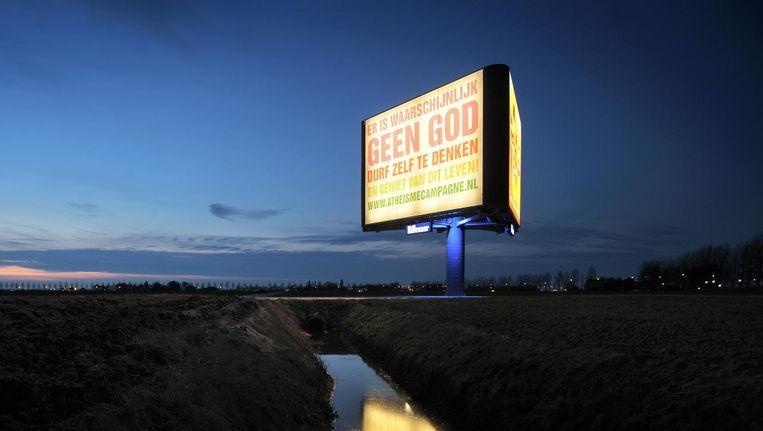 Advertentie op een reclamezuil, in 2009 langs de snelweg A4. Beeld Joost van den Broek / de Volkskrant