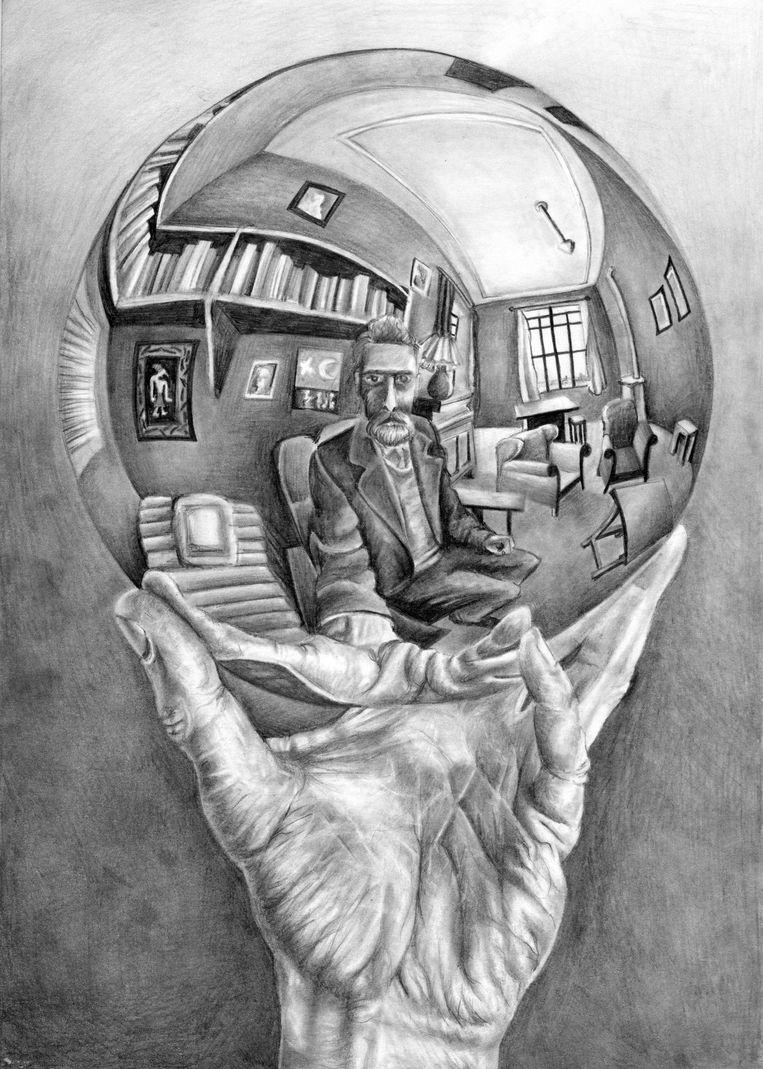 M.C. Escher, Hand met reflecterende bal, 1935 Beeld