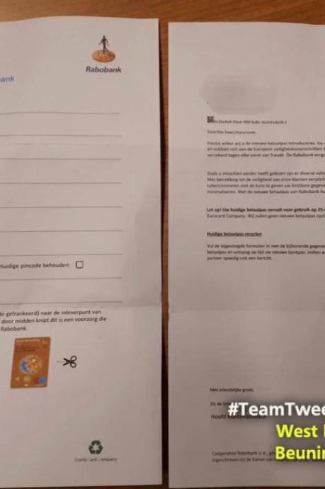 Politie waarschuwt voor 'brief van bank' met daarin formulier om bankpas met pincode op te sturen