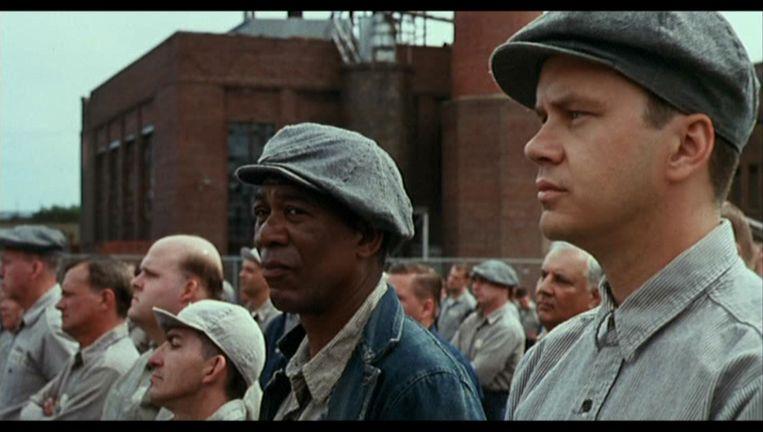 Tim Robbins (rechts) en Morgan Freeman in The Shawshank Redemption (1994) Beeld null