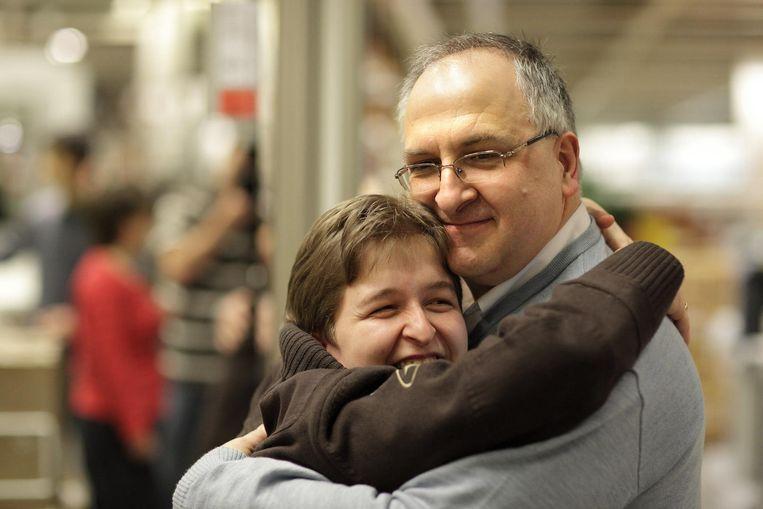 Marc Van Gestel met zijn dochter Ann, die gehandicapt is.