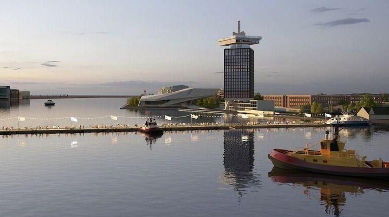 Impressie van de pontenbrug over het IJ. Beeld CIIID architectural presentations