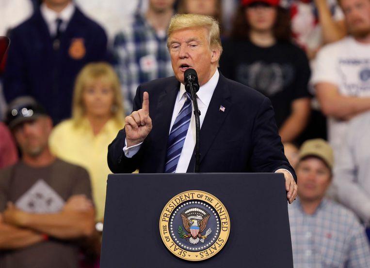 President Donald Trump spreekt op een bijeenkomst in Montana. Beeld AP