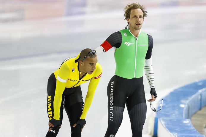 Dai Dai N'tab en Ronald Mulder  (R) na hun tweede 500 meter.