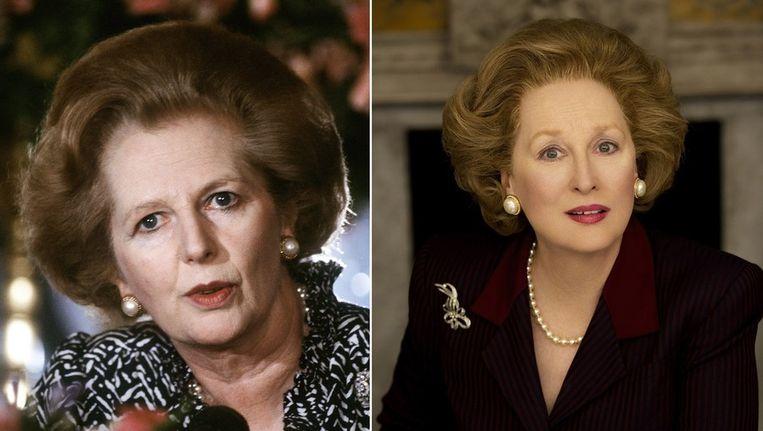Margaret Thatcher (links) en Streep als Thatcher in de film over de Britse oud-premier. Beeld afp