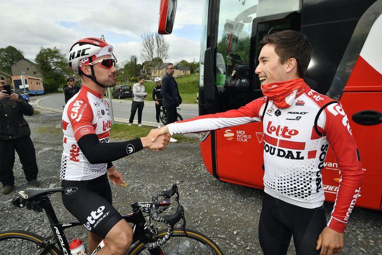 Victor Campenaerts met Bjorg Lambrecht voor de verkenning van Luik-Bastenaken-Luik.