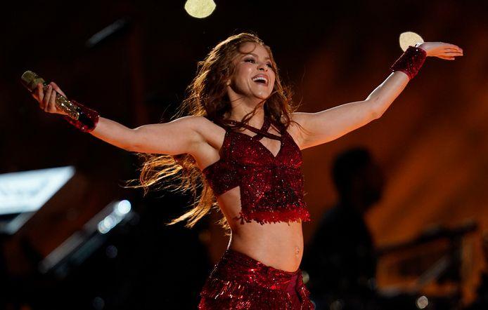 Shakira en plein concert pendant la mi-temps du Super Bowl en février 2020.
