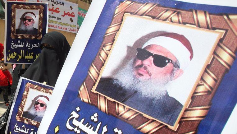 Een Egyptische vrouw bij een demonstratie in maart dit jaar voor de vrijlating van de blinde sjeik Omar Abdul Rahman. Beeld EPA