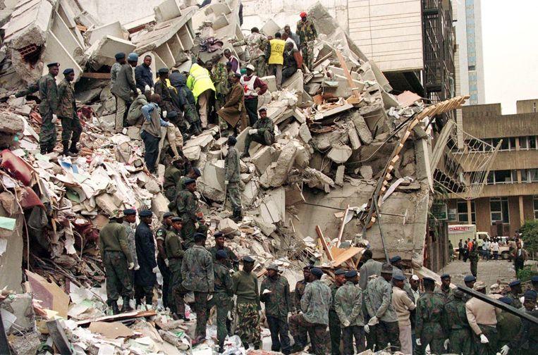 De ravage na de aanslagen in Nairobi in 1998 Beeld Reuters