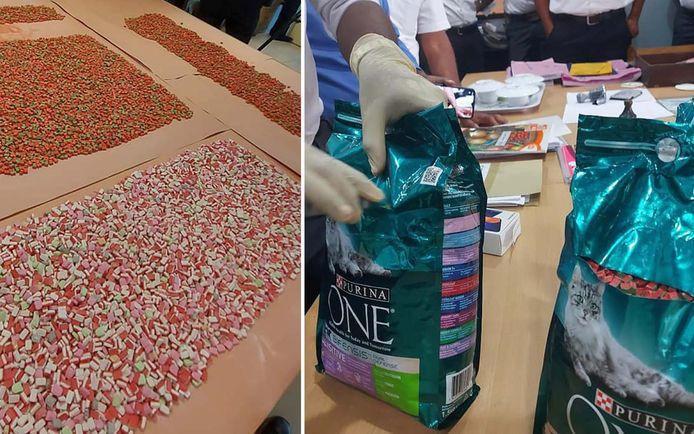 De drugs zaten verstopt in zakken kattenvoer van het merk Purina.