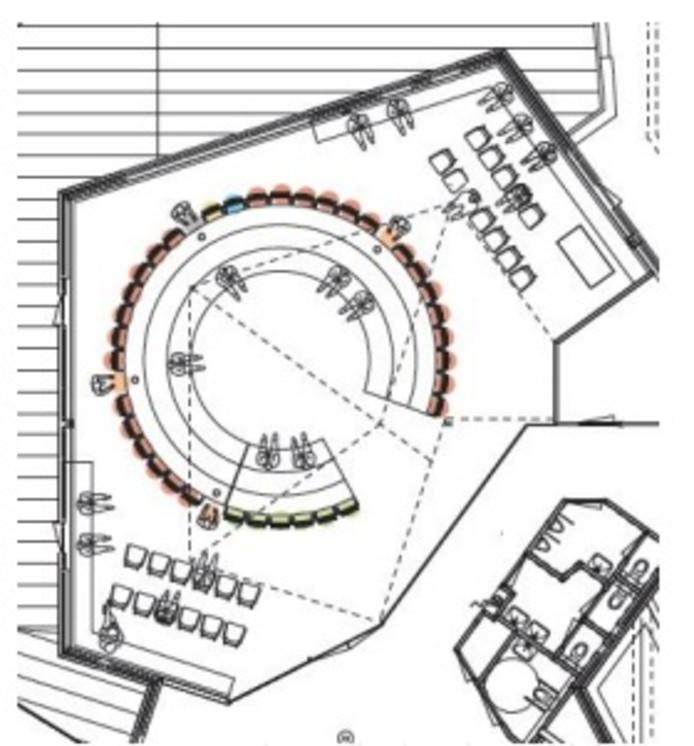 Ontwerp van de nieuwe opstelling voor de raadzaal van Berkelland, zoals nu 'tot nader order' als voorstel teruggenomen.