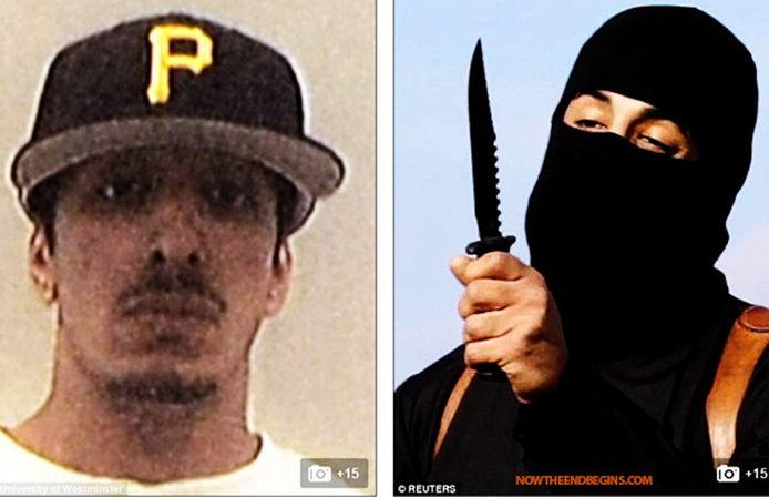Mohammed Emwazi als tiener in Londen en rechts als de IS-beul 'Jihadi John'.