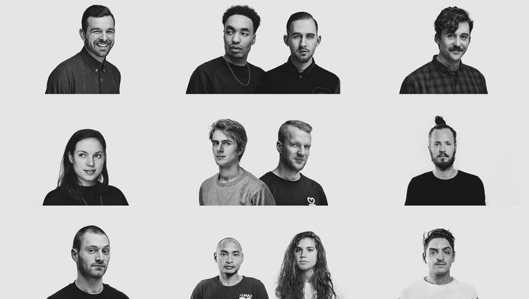 Een afvaardiging van de dj's die namens 22Tracks playlists in hun genre bijhouden in Amsterdam Beeld 22Tracks