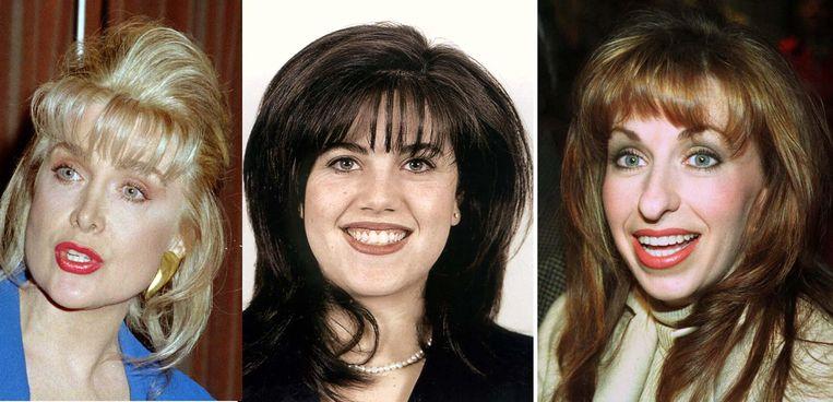 De drie vrouwen die Bill Clinton voor en tijdens zijn presidentschap in problemen brachten. Van links naar rechts Gennifer Flowers, Monica Lewinsky en Paula Jones. Hij schikte de sekszaak van Jones in 1998 voor 850 duizend dollar. Beeld Reuters
