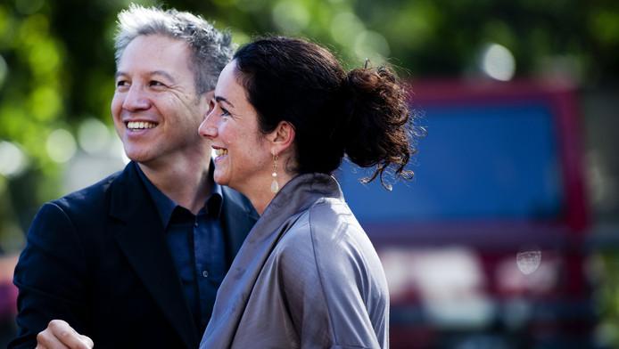Femke Halsema (R) met haar partner, regisseur Robert Oey. (Archieffoto)