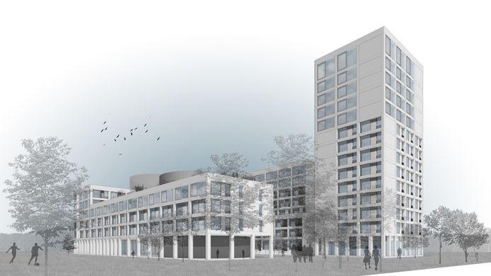 Impressie van de permanente studentencampus, het nieuwe studentendorp, gezien vanuit het Reitseplein.