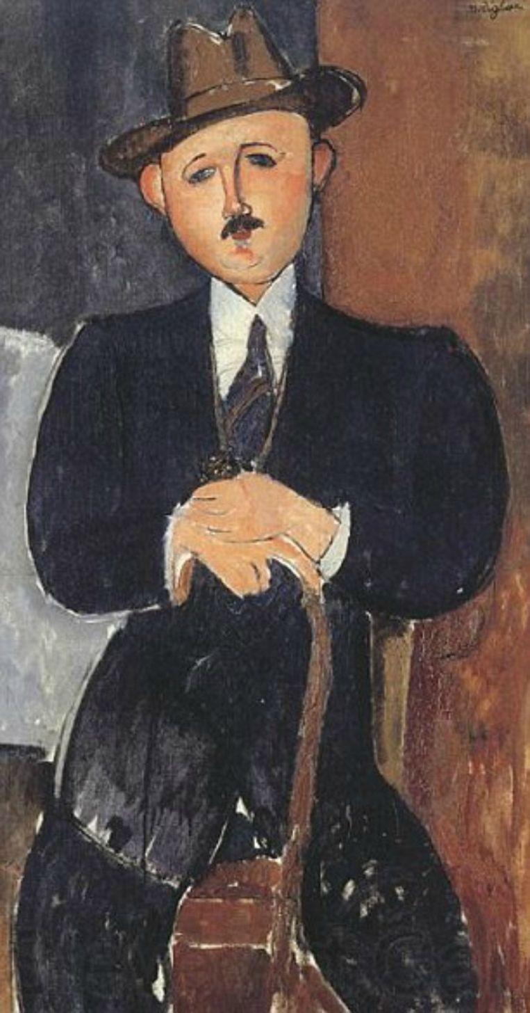 Zittende man leunend op een stok - Amedeo Modigliani Beeld Ap