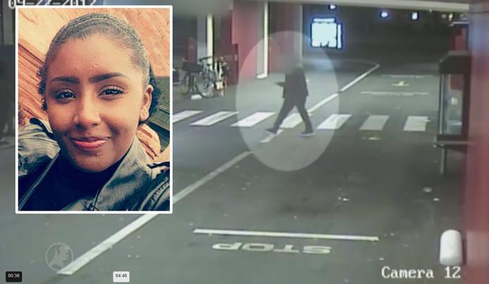 Graciëla Gomes Rodrigues (21) uit Vlaardingen (foto-inzet) werd dood bij de Krabbeplas aangetroffen. Eerder die avond werkte ze nog bij de KFC. Op dit beeld van de veiligheidscamera van de KFC is ook de verdachte te zien.