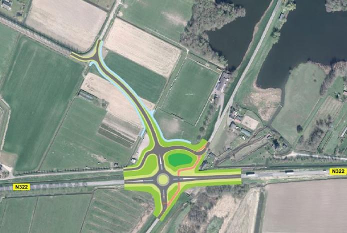 Om verkeer van en naar de tuinbouwbedrijven in Brakel een snelle toegang tot de N322 te verschaffen, wil de provincie een nieuwe rotonde aanleggen die aansluit op de Kooiweg.
