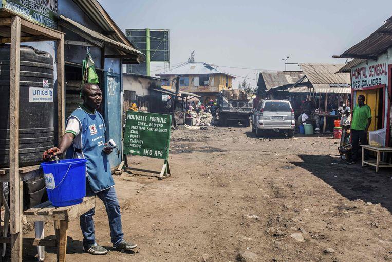 Een controlepost in  Goma. Beeld AFP