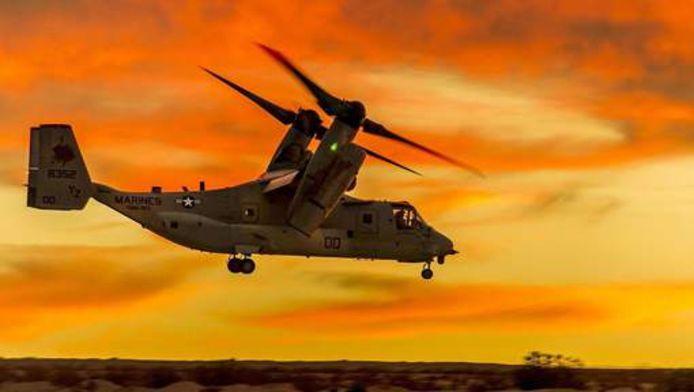 Het ongeval gebeurde met een MV-22 Osprey, , een kruising tussen een helikopter en een vliegtuig.