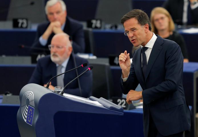Premier Rutte tijdens zijn speech