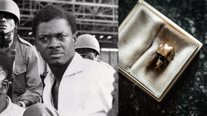 Patrice Lumumba werd in 1960 gevangengenomen. Rechts: de verhulde kies die in 2016  bij Godelieve Soete werd gefotografeerd