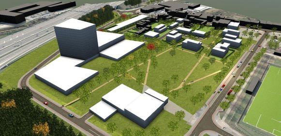 Een toekomstbeeld van de Horinck-site met links de ring (met kantorentoren ernaast) en rechts de Noorderlaan en het voetbalveld.