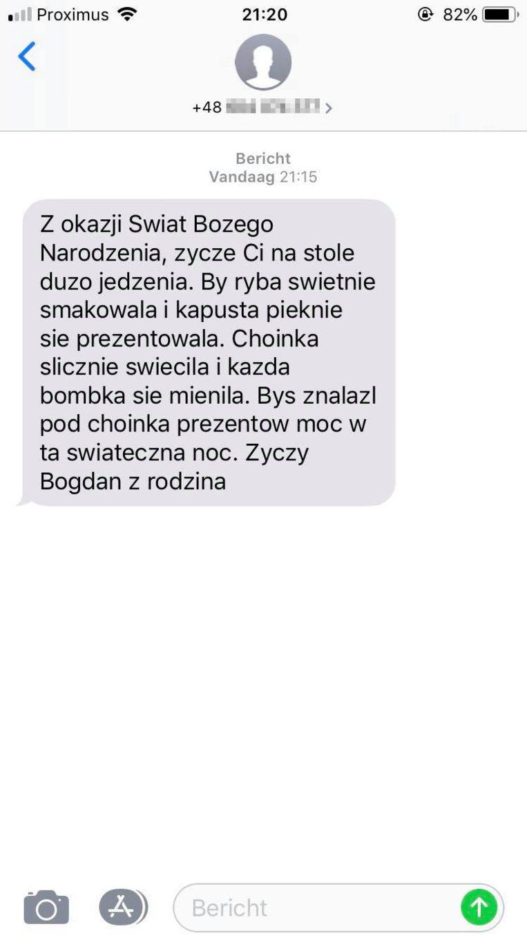 Het berichtje dat het slachtoffer op zijn gsm ontving.