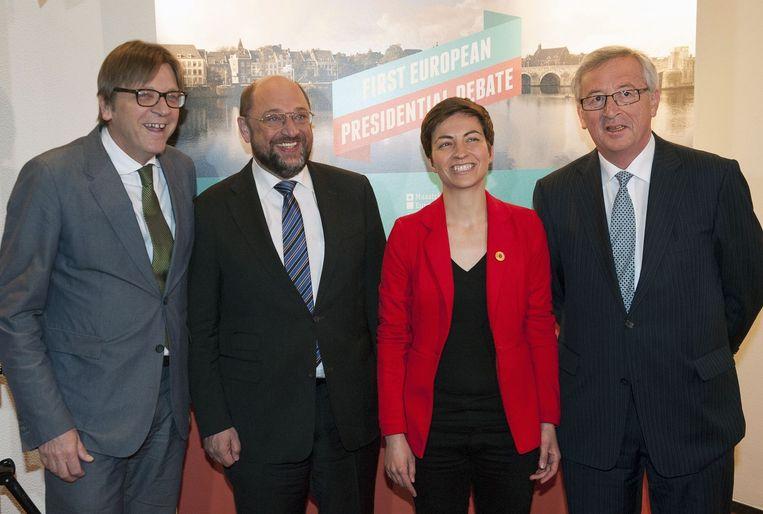 De kandidaten namens het Europees parlement: Verhofstadt, Schultz, Keller en Juncker.
