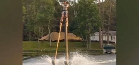 Il établit un record du monde en faisant du ski nautique sur des échasses