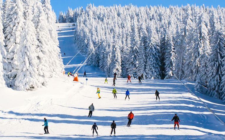 De skiër raasde aan een rotvaart een blauwe piste af.