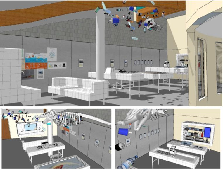 Een toekomstbeeld van de ruimte rond het thema 'vervuiling', waar een skelet zal hangen van een dwergvinvis.