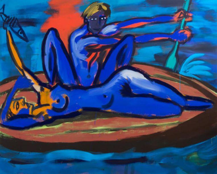 'Rainer Fetting, 'Im boot' (1982). Richtprijs op de veiling 15 duizend tot 20 duizend euro. Beeld Venduehuis Den Haag