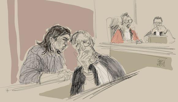 Rechtbanktekenaar Igor Preys vereeuwigde hoe beschuldigde Mehrnaz Didgar overlegt met haar advocaat Jef Vermassen.