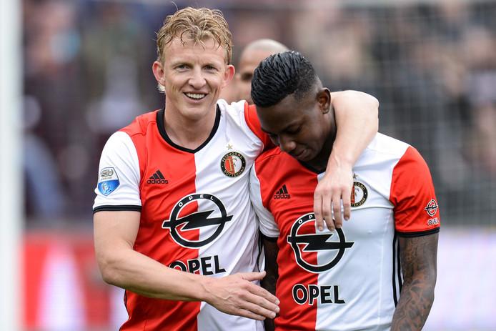 Dirk Kuyt en Eljero Elia na de 2-0 overwinning op FC Utrecht.