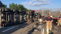 E17 na zes uur opnieuw vrij na ongeval met vrachtwagens