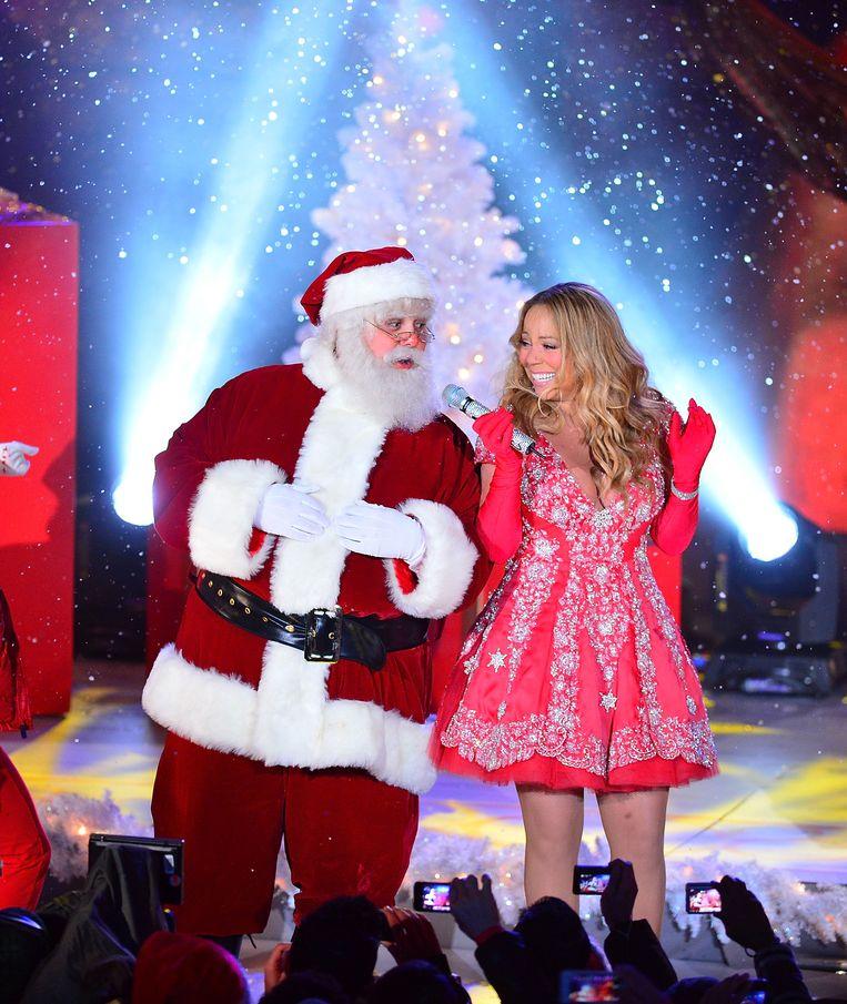 Mariah Carey met de kerstman