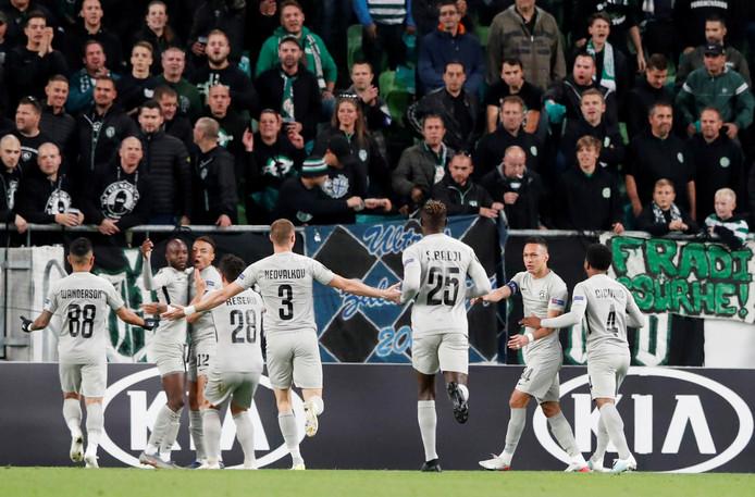 Feest bij Ludogorets: Lukoki heeft de 1-0 gemaakt.
