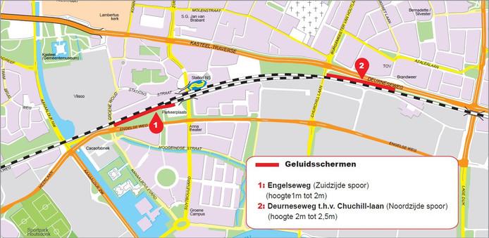 Op twee plekken aan het spoor in Helmond komen in 2018 nieuwe geluidsschermen.