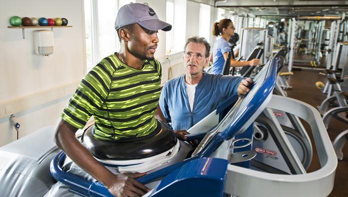 Ignisious Gaisah op de anti-gravity treadmill.