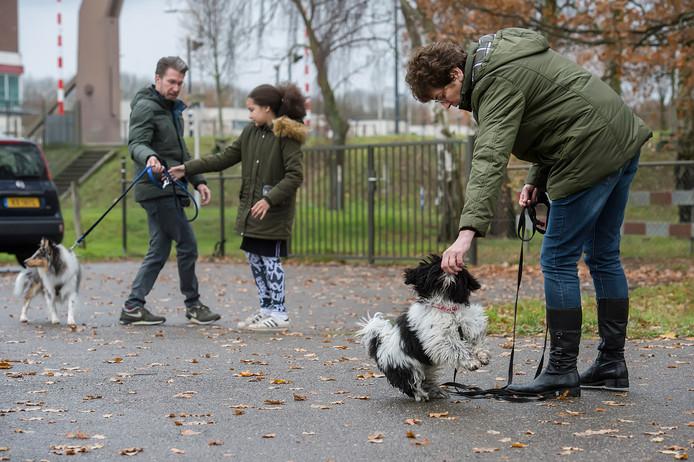 De deelnemers aan de hondenwandeling komen aan op de parkeerplaats in Oosterhout.