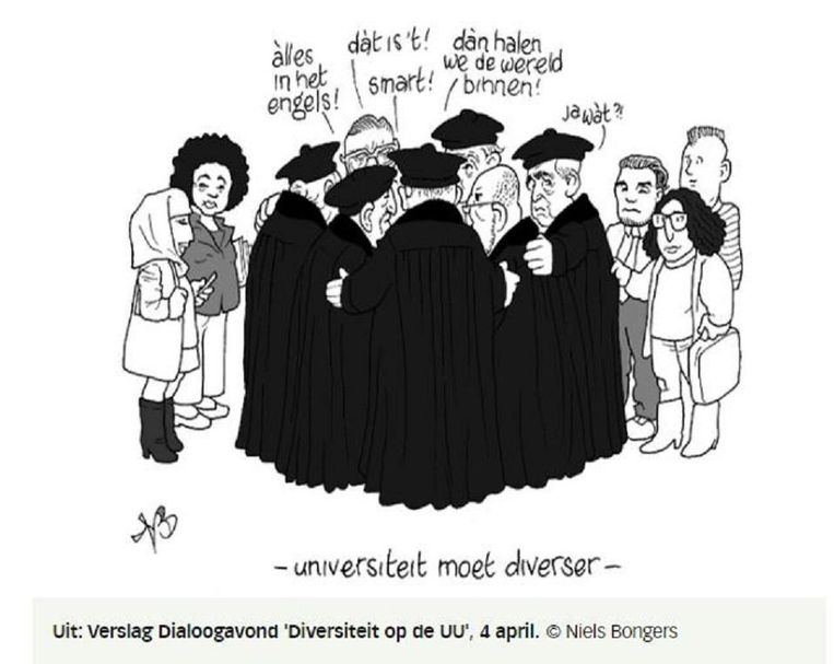 Cartoon uit: Verslag Dialoogavond Diversiteit op de UU, 4 april. Beeld Illustratie Niels Bongers