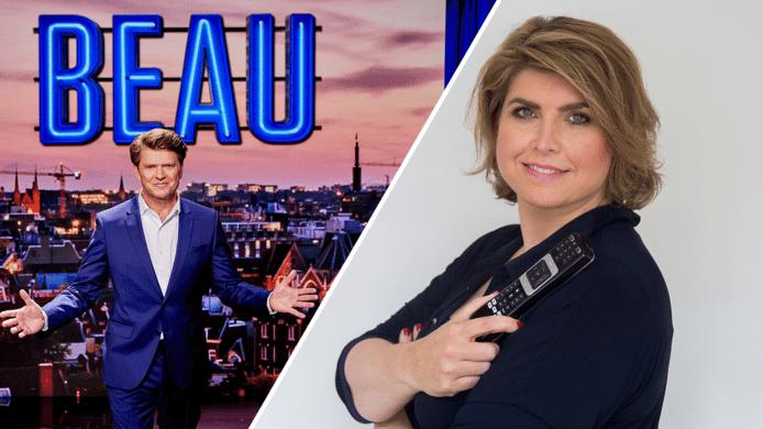 videostill Angela de Jong over eerste uitzending 'Beau'.