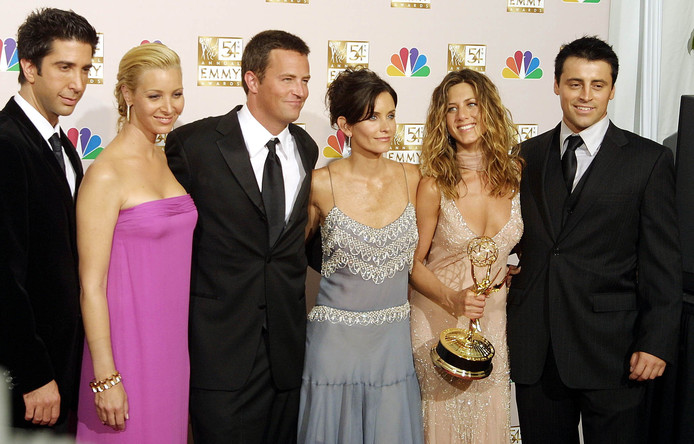 De cast van Friends: David Schwimmer, Lisa Kudrow, Mathew Perry, Courtney Cox Arquette, Jennifer Aniston en Matt LeBlanc