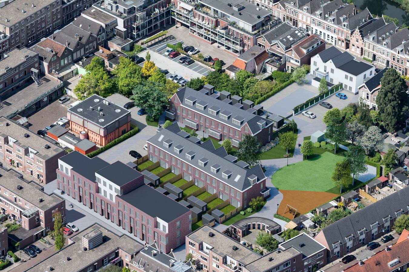 Een impressie vanuit de lucht van de nieuwe woningen die Brukon op het terrein van de voormalige psychiatrische kliniek van Yulius aan het Kasperspad en Kromhout in Dordrecht gaat bouwen.