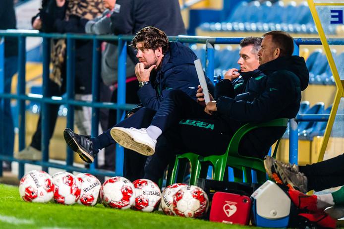 Vlnr. assistent Molhoek, interim-trainer Weijs en keeperstrainer Ten Rouwelaar.