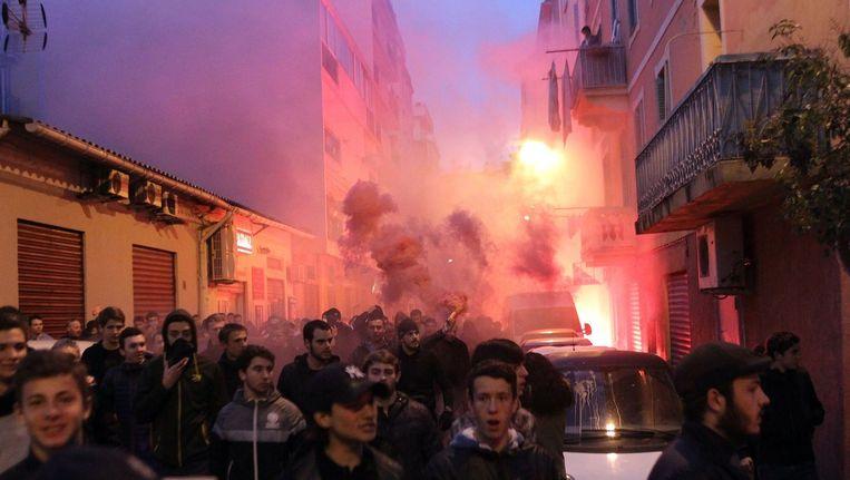 Betogers in Ajaccio, op 26 december. Beeld afp